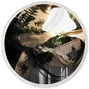 Rustic Holiday Round Beach Towel