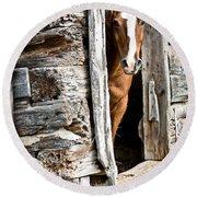Rustic Horse Scene Round Beach Towel