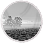 Rustic Morning In Black And White Round Beach Towel