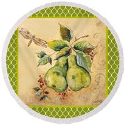 Rustic Pears On Moroccan Round Beach Towel