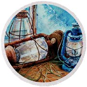 Rustic Relics Round Beach Towel