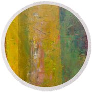 Rustic Stripes With Yellow Round Beach Towel by Michelle Calkins