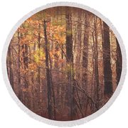 Rustic Winter Glow Round Beach Towel