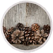 Rustic Wood With Pine Cones Round Beach Towel