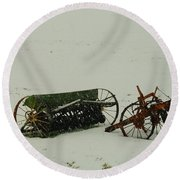 Rusting In The Snow Round Beach Towel