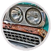 Rusty 1959 Ford Station Wagon - Front Detail Round Beach Towel