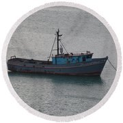 Rusty Boat Round Beach Towel