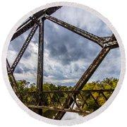 Rusty Bridge In Fall Round Beach Towel