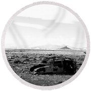 Rusty Car 3 - Black And White Round Beach Towel