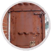 Rusty Door 1 Round Beach Towel