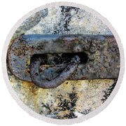 Rusty Dusty And Grimy Lock Plate Round Beach Towel