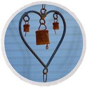 Rusty Heart 1 Round Beach Towel