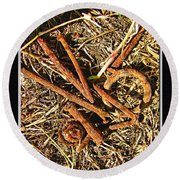 Rusty Nails Round Beach Towel