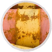 Rusty Oil Barrels Yellow Red Background Pattern Round Beach Towel