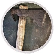 Rusty Old Axe Round Beach Towel by Carlos Caetano