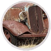 Rusty Old Chevy Round Beach Towel