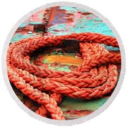 Rusty Old Ship Round Beach Towel