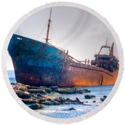 Rusty Old Shipwreck Aground  On Rocky Reef Round Beach Towel