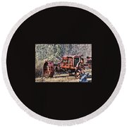 Rusty Old Tractor Round Beach Towel
