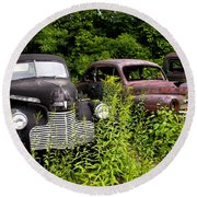 Rusty Old Transportation Round Beach Towel