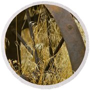Rusty Old Wheel And Yellow Grasses Round Beach Towel