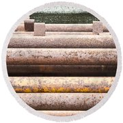 Rusty Pipes Round Beach Towel