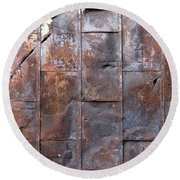 Rusty Plate Door 2 Round Beach Towel