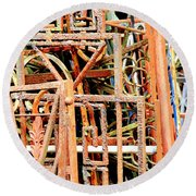 Rusty Railings Square Round Beach Towel