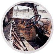 Rusty Relic Truck Round Beach Towel