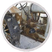 Rusty Tractor Round Beach Towel