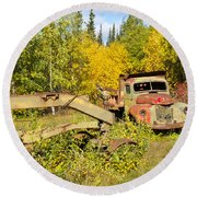 Rusty Truck And Grader Forgotten In Fall Forest Round Beach Towel
