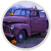 Rusty Truck With Pumpkins Round Beach Towel