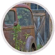 Rusty Vintage Ford Panel Truck Round Beach Towel