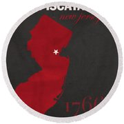 Rutgers University Scarlet Knights Piscataway Nj College Town State Map Poster Series No 092 Round Beach Towel