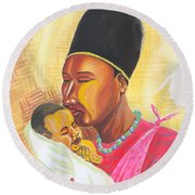 Rwandan Maternal Kiss Round Beach Towel
