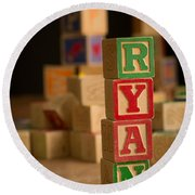 Ryan - Alphabet Blocks Round Beach Towel