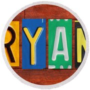 Ryan License Plate Name Sign Fun Kid Room Decor. Round Beach Towel