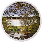 Ryot Covered Bridge And Stream Round Beach Towel