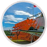S S Klondike On Yukon River In Whitehorse-yt Round Beach Towel