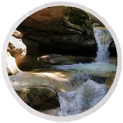 Sabbaday Falls Gorge Round Beach Towel