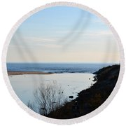 Sable Meets Lake Michigan Round Beach Towel