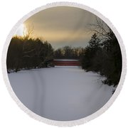 Sachs Covered Bridge At Sunrise In Winter Round Beach Towel