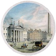 Sackville Street, Dublin, Showing The Post Office And Nelsons Column Round Beach Towel