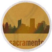 Sacramento California City Skyline Watercolor On Parchment Round Beach Towel
