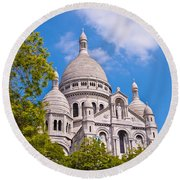 Sacre Coeur Basilica Paris France Round Beach Towel
