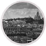 Sacre Coeur Over Rooftops Black And White Version Round Beach Towel