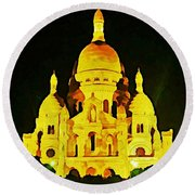 Sacre-coure Cathedral Paris  Round Beach Towel