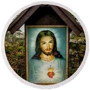 Sacred Heart Of Jesus Round Beach Towel