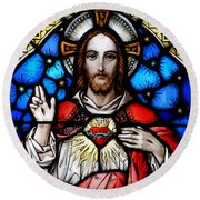 Sacred Heart Of Jesus In Stained Glass Round Beach Towel