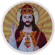 Sacred Heart Of Jesus Hand Embroidery Round Beach Towel
